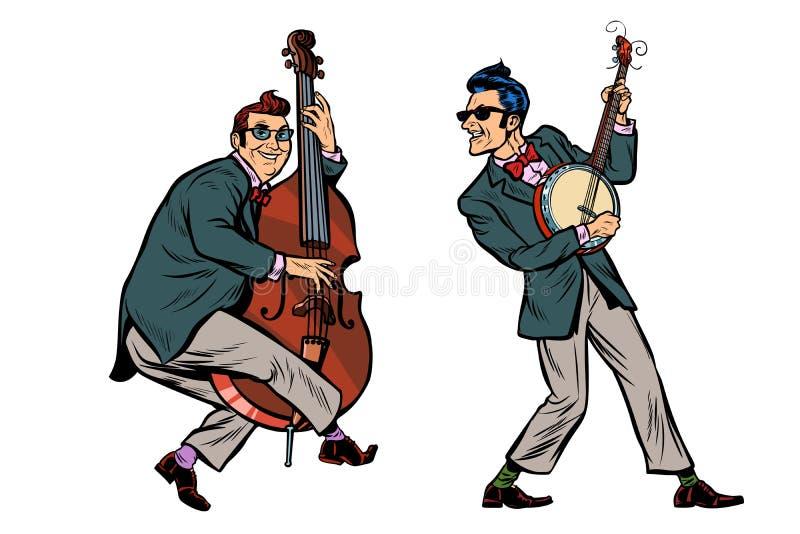 山区乡村摇滚乐爵士乐音乐家、低音提琴和班卓琵琶 向量例证