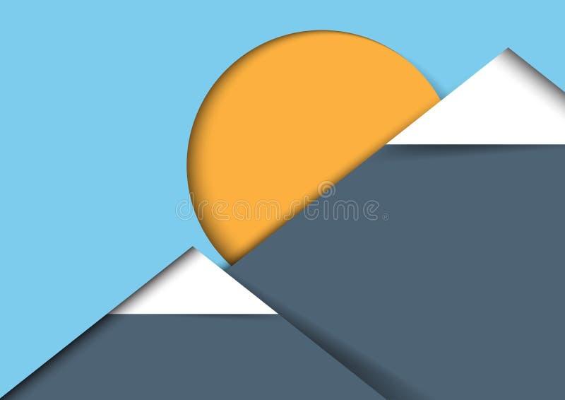 山和太阳纸艺术样式 库存例证
