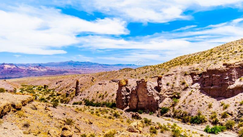 山和山沟在埃尔多拉多峡谷在米德湖国立公园,美国 免版税图库摄影