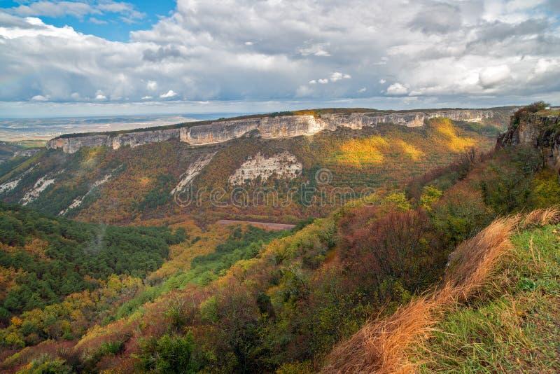 山和森林秋天风景  库存图片
