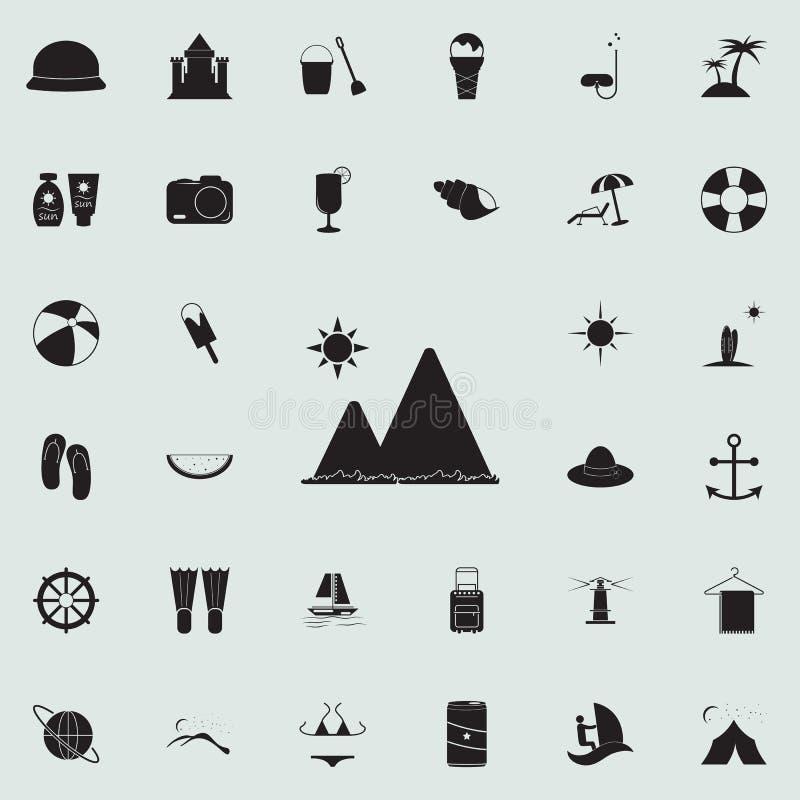 山和海象 详细的套夏天乐趣象 优质质量图形设计标志 一汇集象 向量例证