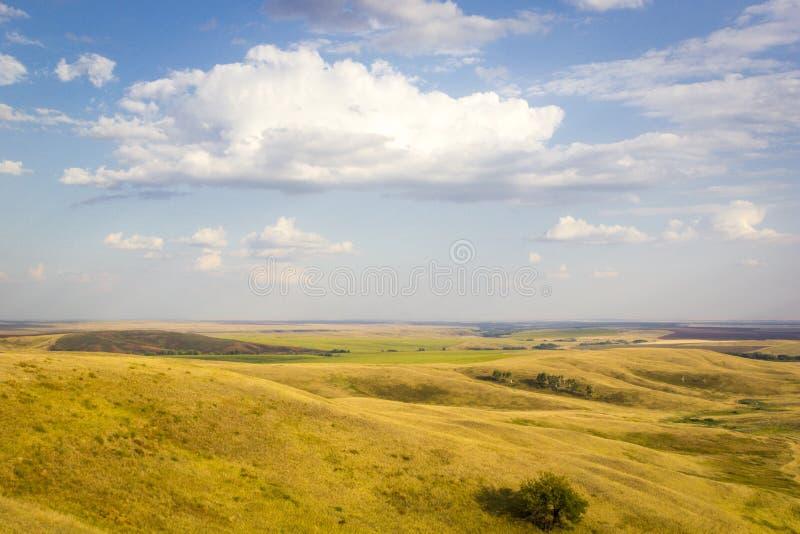 山和草甸,与山的多云天空庄严农村风景  免版税库存图片