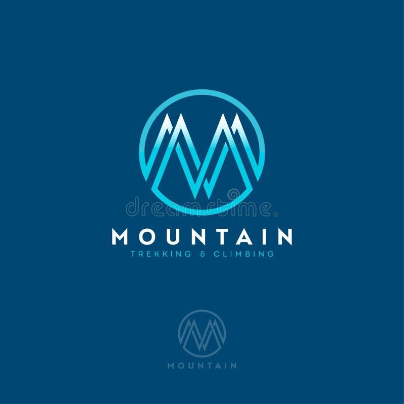山商标,组合图案 信件M作为山 服装店,上升的设备 库存例证