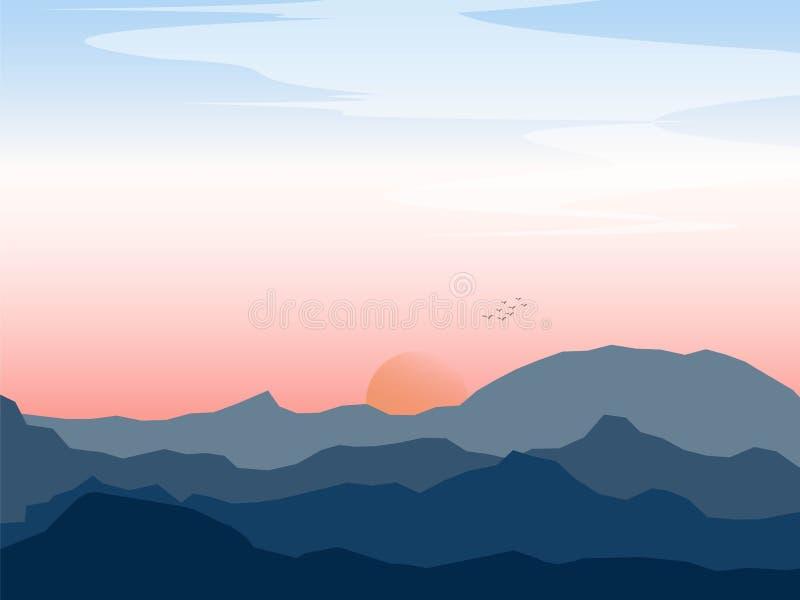 山图表风景与鸟和日落的 免版税库存图片