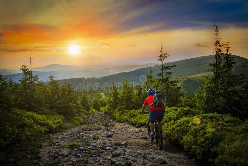 山在日落的骑自行车的人骑马在前面夏天的山的自行车 免版税库存图片