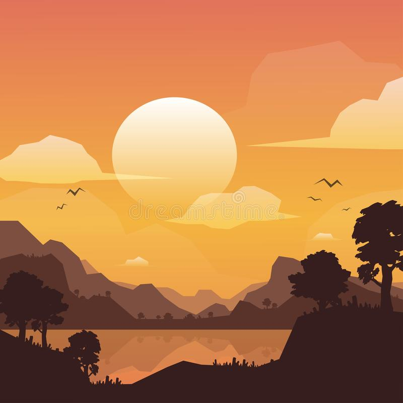 山在日落,传染媒介例证的风景背景 皇族释放例证