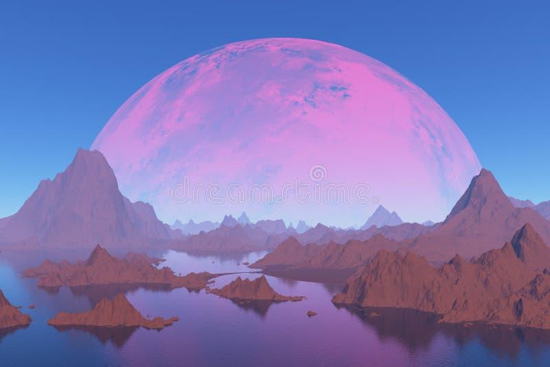 山在红色行星的背景中 免版税库存图片