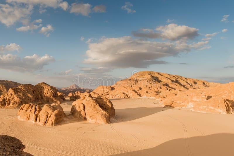 山在西奈沙漠埃及 免版税库存图片