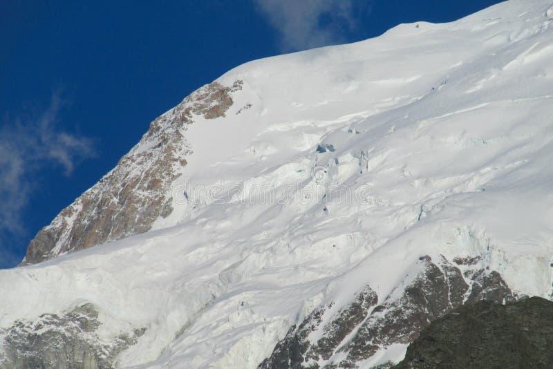 山在阿尔卑斯下雪和岩石倾斜 免版税图库摄影