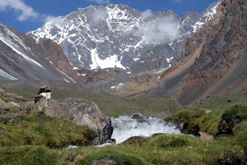 山在Cordonn del普拉塔公园 mendoza 库存照片