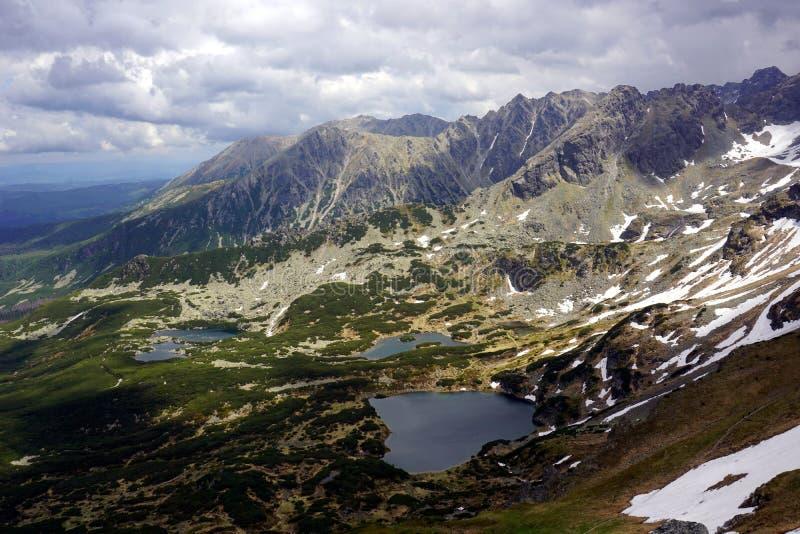 山在Gasienicowa谷, Tatra山-波兰筑成池塘 库存照片