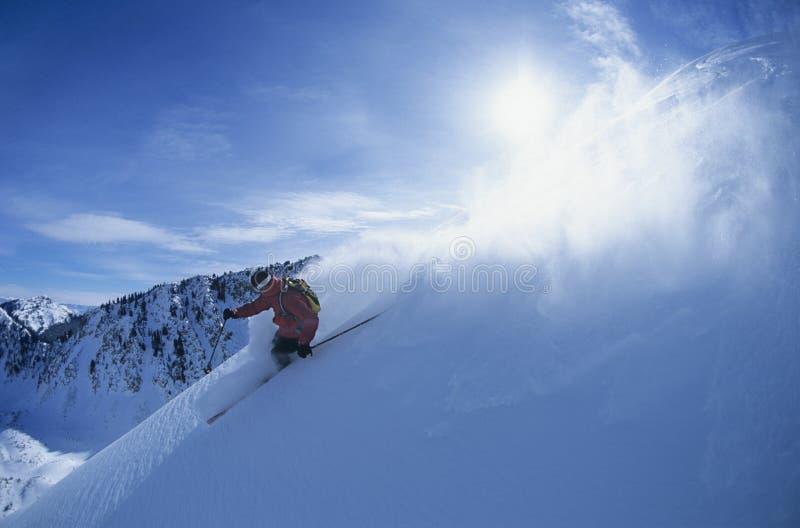 山坡的滑雪者 库存照片