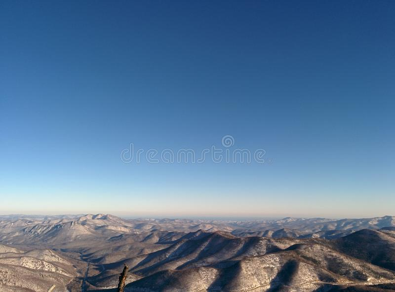 山天空雪旅行符拉迪沃斯托克 图库摄影