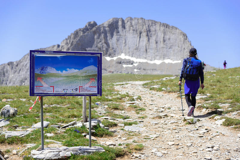 山奥林匹斯山Stefani峰顶在希腊 库存照片