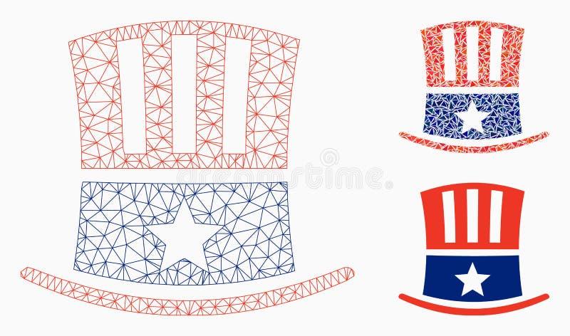 山姆大叔帽子传染媒介网状网络模型和三角马赛克象 皇族释放例证