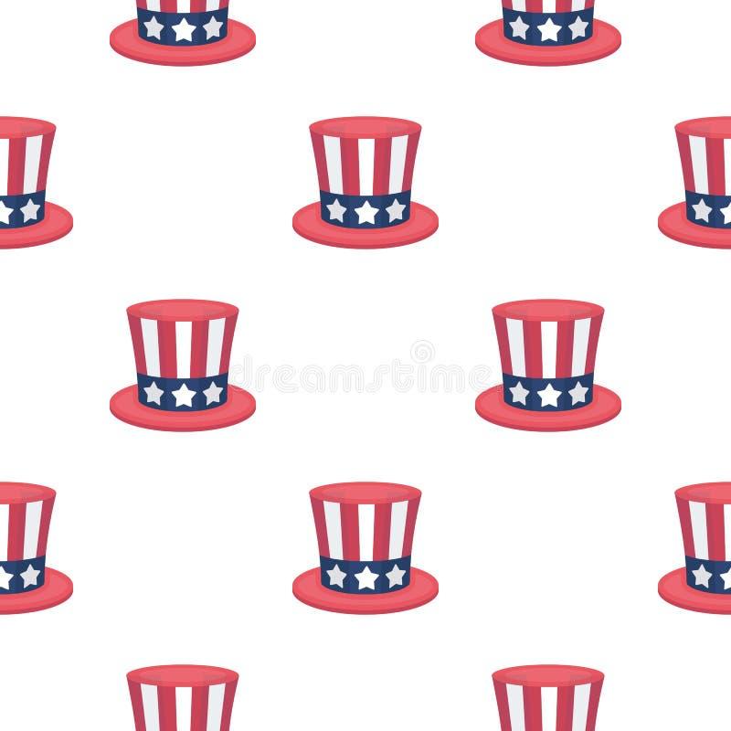 山姆大叔` s在动画片样式的帽子象在白色背景 爱国者天样式股票传染媒介例证 向量例证