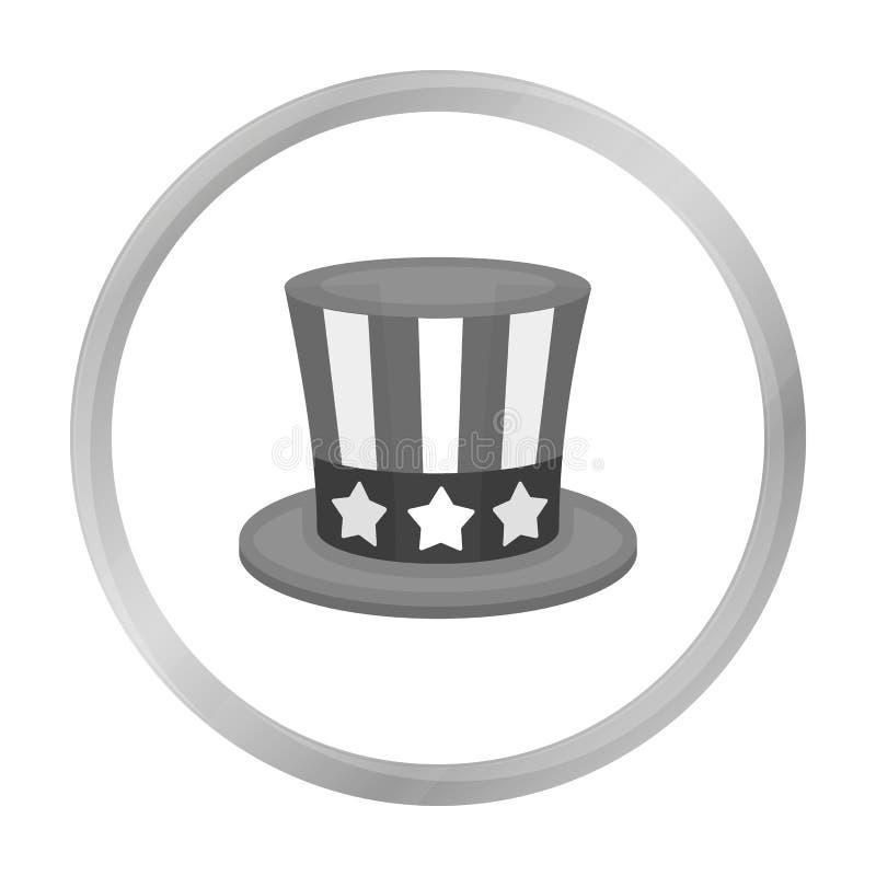 山姆大叔` s在白色背景在单色样式的帽子象隔绝的 爱国者天标志股票传染媒介例证 向量例证