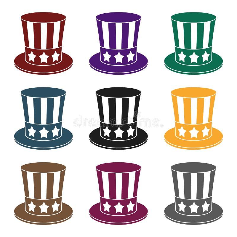 山姆大叔` s在白色背景在黑样式的帽子象隔绝的 爱国者天标志股票传染媒介例证 向量例证
