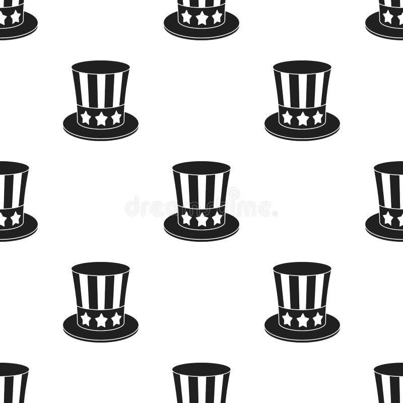 山姆大叔` s在白色背景在黑样式的帽子象隔绝的 爱国者天样式股票传染媒介例证 向量例证