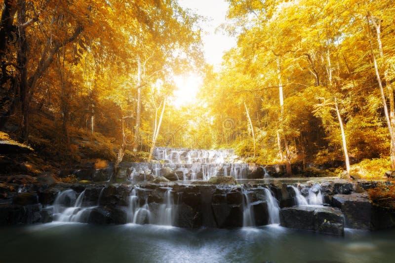 山姆Lan瀑布是美丽的瀑布在热带森林, Sar里 免版税库存照片