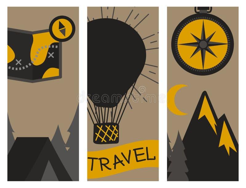 山室外传染媒介野营手拉的卡片的旅行flayer攀登远足证章高峰极端例证 库存例证