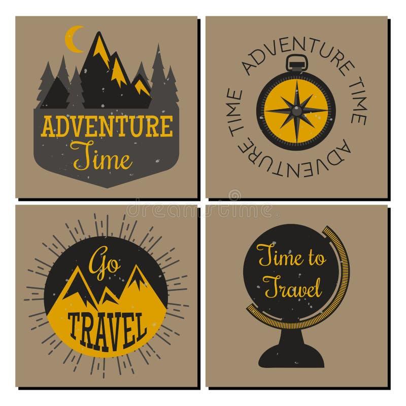 山室外传染媒介野营手拉的卡片的旅行flayer攀登远足证章高峰极端例证 皇族释放例证