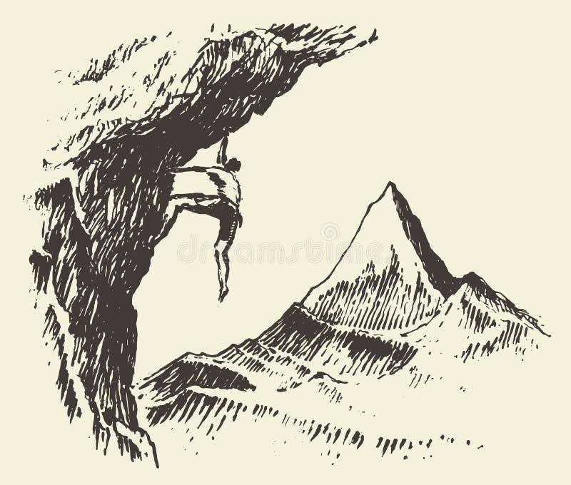 登山家山峰被画的传染媒介剪影 向量例证