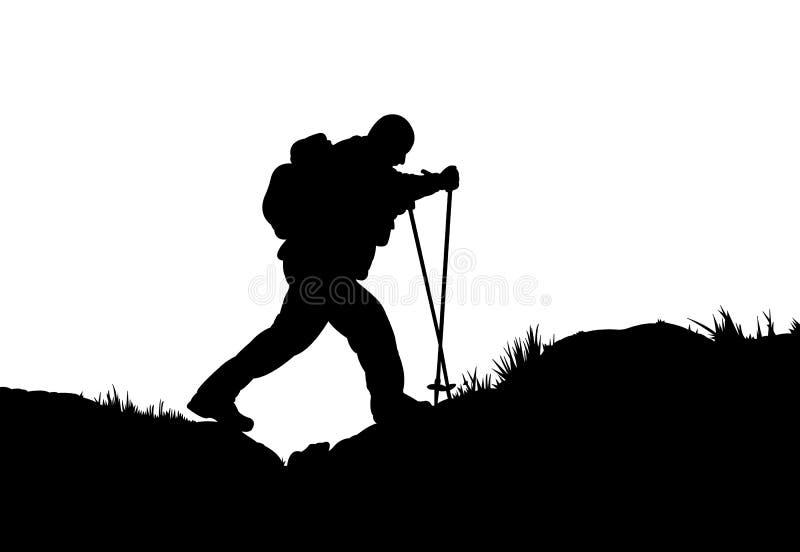 登山家的剪影 皇族释放例证