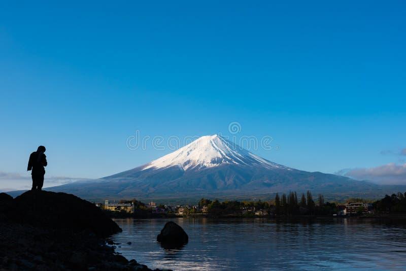 山富士和河口湖的图象 库存图片
