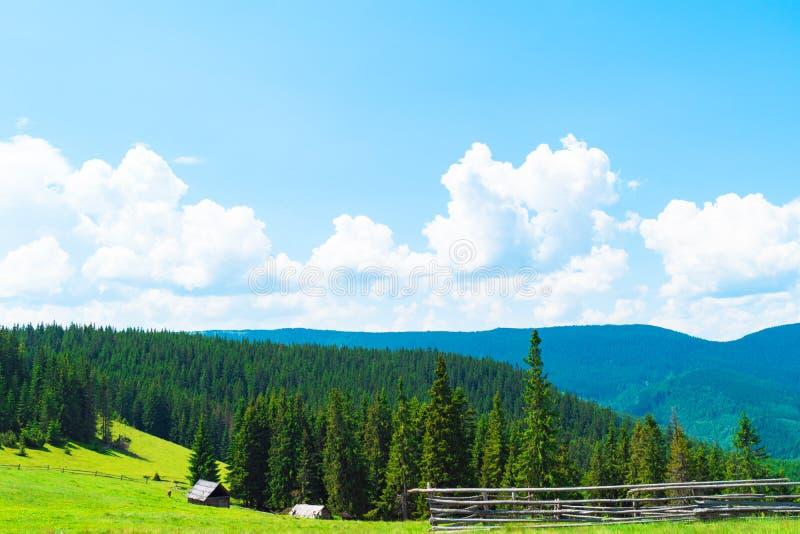 山小山美好的山风景,远足在山 免版税图库摄影