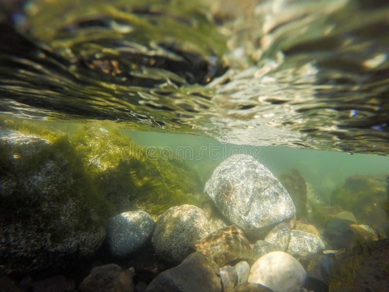 山小河被洗涤的水下的河岩石 库存照片