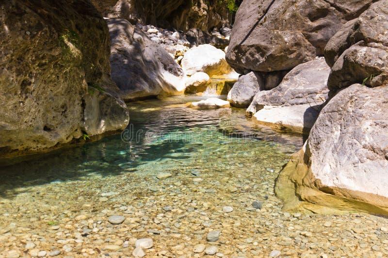 山小河通过Samaria峡谷,克利特海岛  免版税库存图片