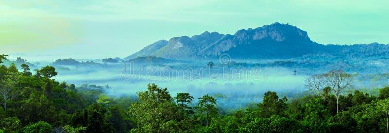 山层美好的风景在早晨太阳光芒和冬天雾的在土井华Mae西康省,美斯乐Nai,Chiangrai,泰国 免版税库存照片
