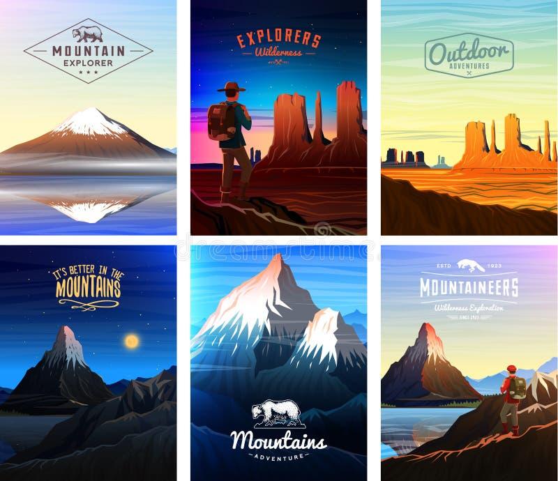 山峰卡片或小册子 在自然的旅游业 风景及早在一白天 室外小山上面 套葡萄酒 向量例证