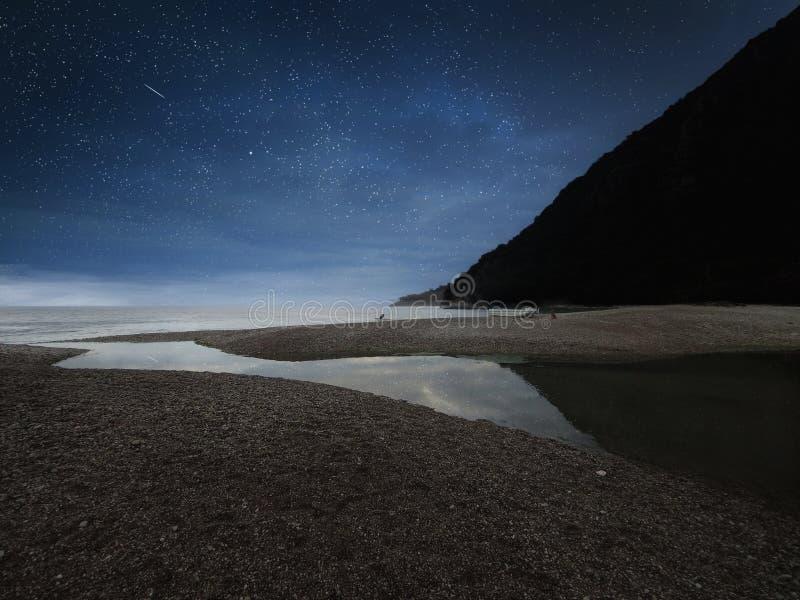山惊人的风景在海附近的有石海滩和蓝色繁星之夜天空的 Olimpos海滩,土耳其 库存照片