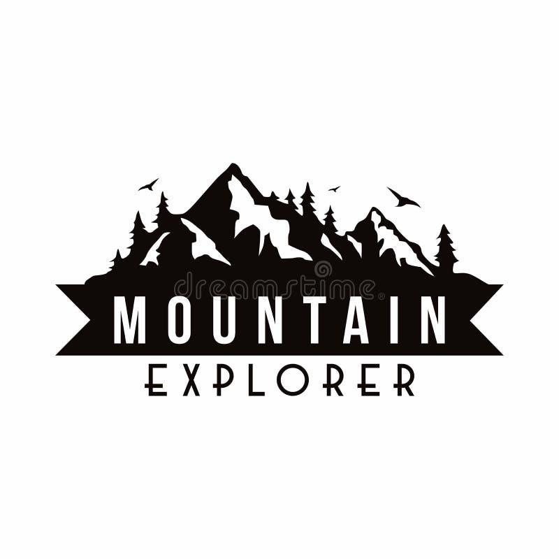 山探险家冒险黑白徽章模板传染媒介 向量例证