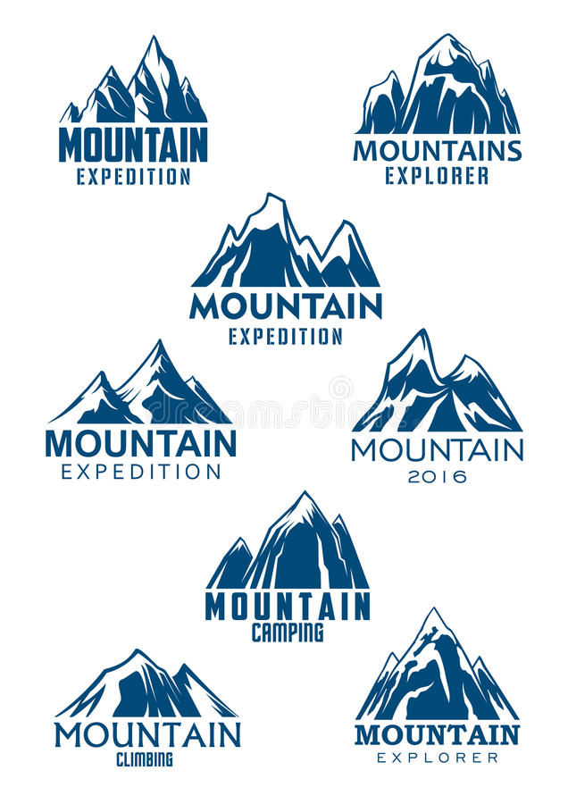 山攀登或远足的体育传染媒介象 库存例证