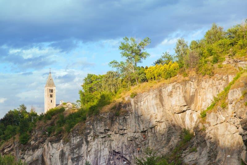 山教会在瓦莱达奥斯塔 库存照片