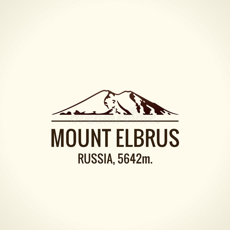 山旅游传染媒介商标 象征登上冒险户外 库存例证