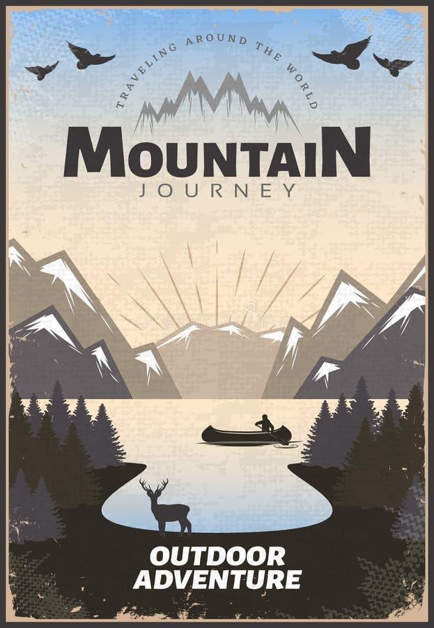 山旅行海报 向量例证