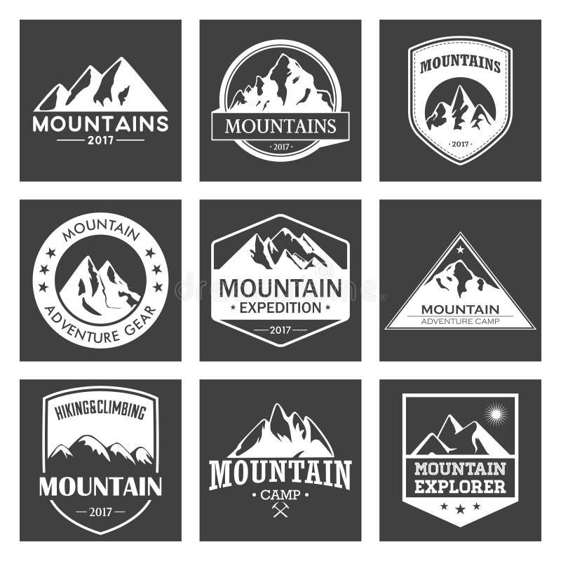 山旅行,室外冒险商标集合 远足的和上升的标签或象旅游业组织的,事件 库存例证