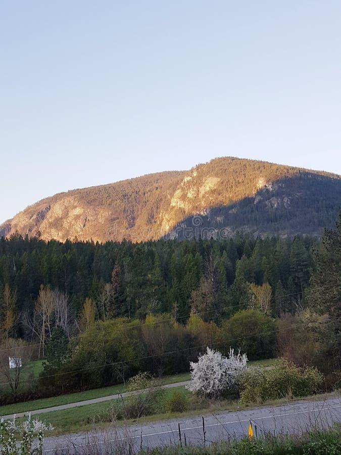 山日落,西部加拿大 免版税库存照片