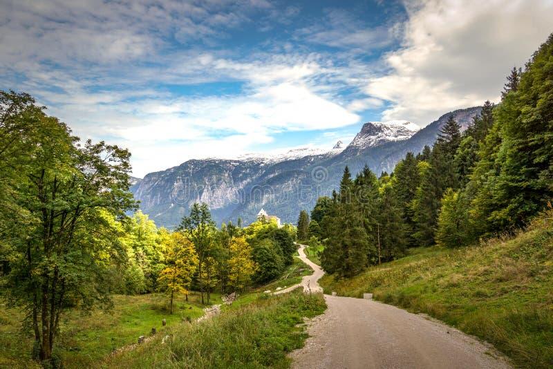 山景在Halberstatt附近的奥地利 库存图片