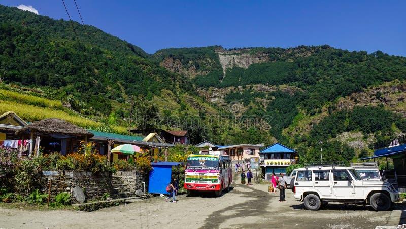 山村在博克拉,尼泊尔 库存照片