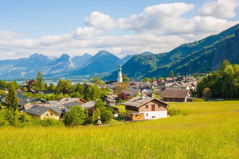 山村StGilgen,奥地利美丽的景色  免版税图库摄影