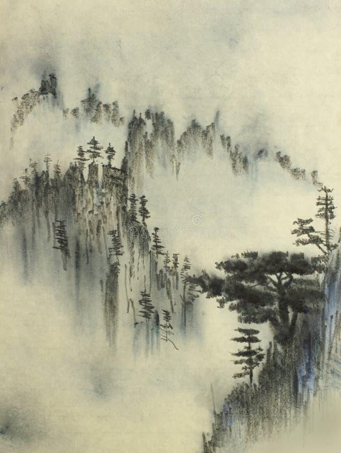 山松和雾 向量例证