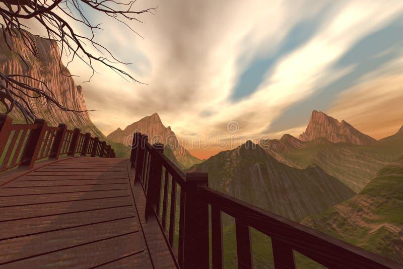 山桥梁 向量例证