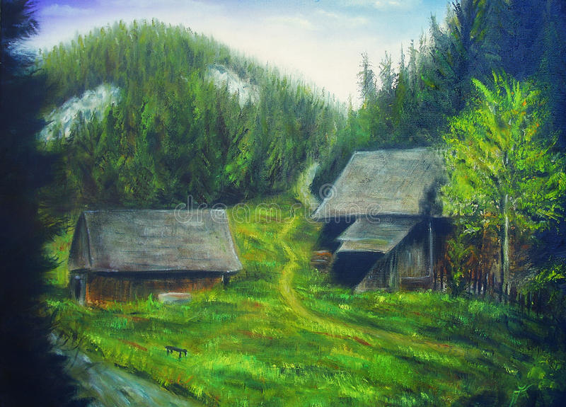 绘画山森林、在树和木头村庄掩藏的山小河 库存例证