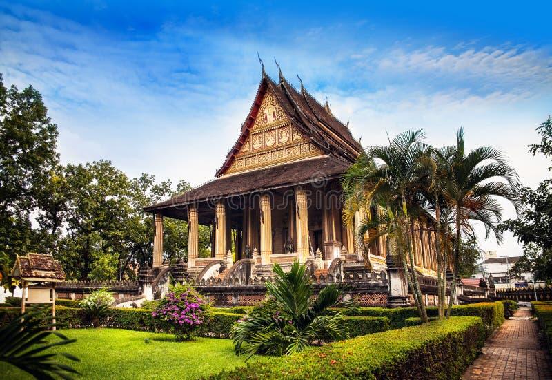 山楂Phra Kaew (鲜绿色菩萨寺庙), No.1吸引力在万象,老挝。 免版税库存照片
