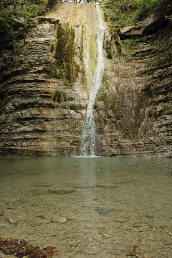 山河、瀑布和森林 免版税库存图片